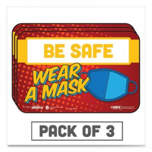 "Tabbies BeSafe Messaging Education Wall Signs, 9 x 6, ""Be Safe, Wear A Mask"", 3/Pack TAB29547 29547"