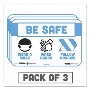 "Tabbies BeSafe Messaging Education Wall Signs, 9 x 6, ""Be Safe, Wear a Mask, Wash Your Hands, Follow the Arrows"