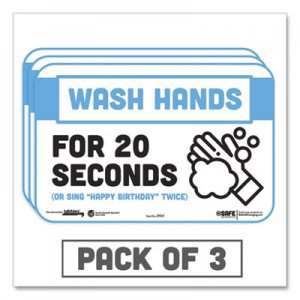 "Tabbies BeSafe Messaging Education Wall Signs, 9 x 6, ""Wash Hands For 20 Seconds or Sing Happy Birthday Twice"", 3"