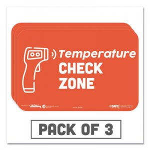 "Tabbies BeSafe Messaging Education Wall Signs, 9 x 6, ""Temperature Check Zone"", 3/Pack TAB29510 29510"