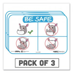 "Tabbies BeSafe Messaging Education Wall Signs, 9 x 6, ""Be Safe"", Rhinoceros, 3/Pack TAB29509 29509"