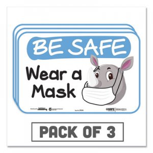 "Tabbies BeSafe Messaging Education Wall Signs, 9 x 6, ""Be Safe, Wear a Mask"", Rhinoceros, 3/Pack TAB29508 29508"