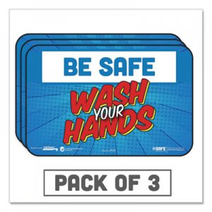 "Tabbies BeSafe Messaging Education Wall Signs, 9 x 6, ""Be Safe, Wash Your Hands"", 3/Pack TAB29502 29502"