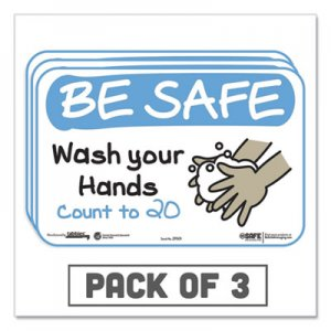 "Tabbies BeSafe Messaging Education Wall Signs, 9 x 6, ""Be Safe, Wash Your Hands, Count to 20"", 3/Pack TAB29501"