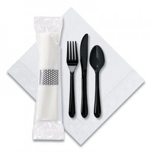 Hoffmaster CaterWrap Cater to Go Express Cutlery Kit, Fork/Knife/Spoon/Napkin, Black, 100/Carton HFM119901 119901