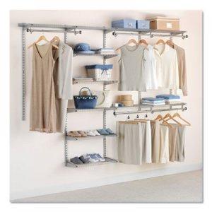 "Rubbermaid Configurations Custom Closet Deluxe Kit, 9 Shelves, 48"" to 96""w x 16""d x 47.5""h, Titanium"
