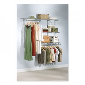 "Rubbermaid Configurations Custom Closet Starter Kit, 5 Shelves, 36"" to 72""w x 16""d x 47.5""h, Titanium"