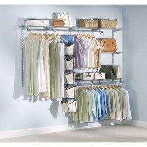 "Rubbermaid Configurations Custom Closet Starter Kit, 5 Shelves, 48"" to 96""w x 16""d x 47.5""h, Titanium"