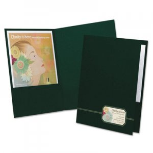 Oxford Monogram Series Business Portfolio, Premium Cover Stock, Green/Gold, 4/Pack OXF04164 04164