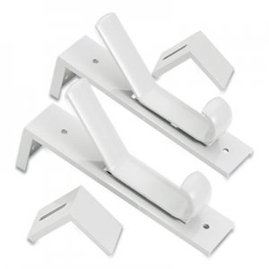 deflecto Partition Double Garment Hooks, Over-the-Panel, 1.5 x 2.5 x 6.5, Gray, 2/Pack DEF462328