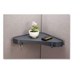 Officemate Verticalmate Plastic Corner Shelf, 13 x 13 x 1.5, Gray OIC807315 29322
