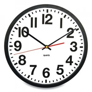 "Victory Light Tempus Wall Clock, 11.8"" Overall Diameter, Black Case, 1 AA (sold separately) VLU957749 TC6236RF"