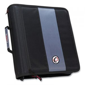 "Case it Classic Zipper Binder, 3 Rings, 2"" Capacity, 11 x 8.5, Black/Gray Accents CAE271286 D-251 BLK"