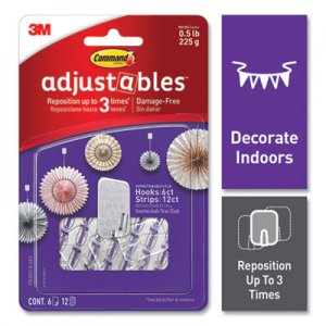 Command Adjustables Repositionable Mini Hooks, Plastic, White, 0.5 lb Capacity, 6 Hooks and 12 Strips MMM24399719 17830CLR-6ES