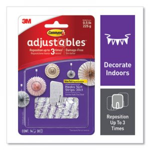 Command Adjustables Repositionable Mini Hooks, Plastic, White, 0.5 lb Capacity, 14 Hooks and 30 Strips MMM24399720 17830CLR-14ES