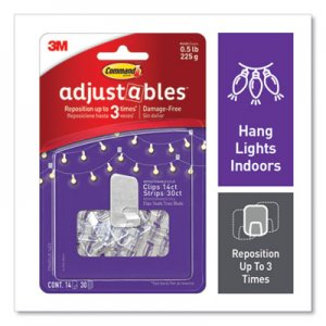 Command Adjustables Repositionable Mini Clips, Plastic, White, 0.5 lb Capacity, 14 Clips and 12 Strips MMM24399721 17840CLR-14ES
