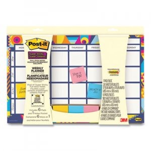 Post-it Weekly Planner with Post-it Super Sticky Notes, 18 x 12, Undated MMM675020 730-CAL-AQUA
