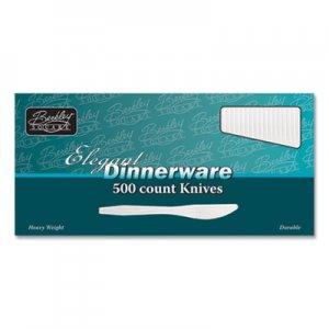 Berkley Square Elegant Dinnerware Heavyweight Cutlery, Polystyrene, Knife, White, 500/Box BSQ2465768 1071010