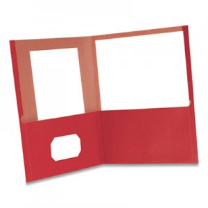 Oxford Earthwise by Oxford 100% Recycled Paper Twin-Pocket Portfolio, 100 Sheet Capacity, Letter, Red, 10/Pack ESS479457 00573EE