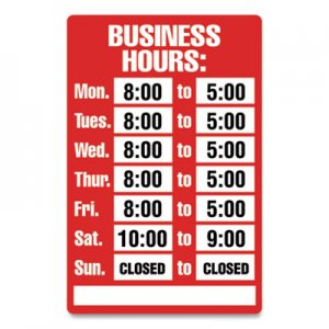 COSCO Open/Closed Business Hours Sign Kit, 8 x 12, Red CSC712511 098071