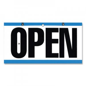 """COSCO Open/Closed Outdoor Sign, 11.6 x 6"""", Blue/White/Black CSC382315 098013"""