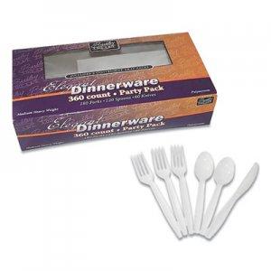 Berkley Square Medium Heavyweight Party Pack, Medium Heavyweight Forks, Knives, Spoons, White, 360/Pack BSQ887317 1065008