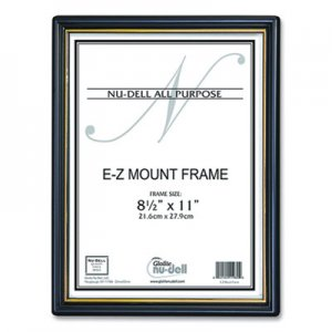 NuDell EZ Mount Document Frame with Trim Accent and Glass Face, Plastic, 8.5 x 11 Insert, Black/Gold NUD709964