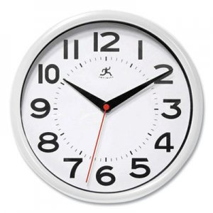 """Infinity Instruments Metro Wall Clock, 9"""" Diameter, White Case, 1 AA (sold separately) IFM949665 14220WH-3364"""