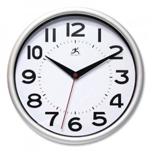 """Infinity Instruments Metro Wall Clock, 9"""" Diameter, Silver Case, 1 AA (sold separately) IFM949663 14220SV-3364"""
