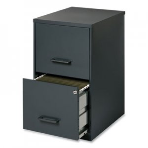 Office Designs Two-Drawer Vertical File Cabinet, 14.25w x 18d x 24.5h, Graphite HID490199 14443