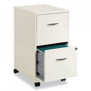 Hirsh Industries Two-Drawer Vertical Mobile File Cabinet, 14.25w x 18d x 26.5h, Pearl White HID1235594 19634