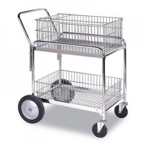 WescoA Wire Office Cart, 2 Shelves, 23.75w x 33.5d x 38.25h, Chrome, 200 lb Capacity WCO699449 272230