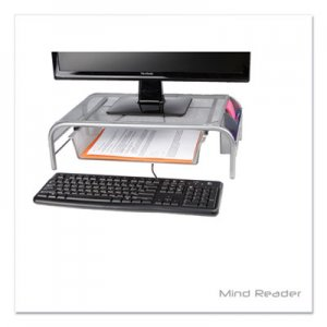 """Mind Reader Raise Metal Mesh Monitor Stand with Drawer, 20"""" x 12"""" x 5.75"""", Silver, Supports 25 lbs EMS24395824"""