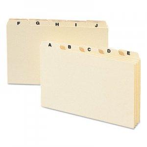 Smead Manila Card Guides, 1/5-Cut Top Tab, A to Z, 5 x 8, Manila, 25/Set SMD57076 57076