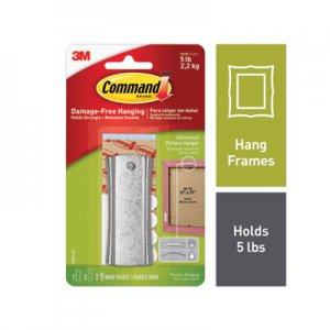 Command Universal Picture Hanger, Large, Silver, 5 lb Capacity, 1 Hanger and 4 Strips MMM70006903739 17047