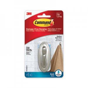 Command Bath Hooks, Medium, Brushed Nickel, 3 lb Capacity, 2 Hooks and 4 Strips/Pack MMM70005038016 17051BNB
