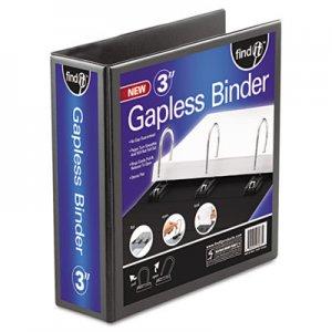 """find It Gapless Loop Ring View Binder, 3 Rings, 3"""" Capacity, 11 x 8.5, Black IDEFT07073 FT07073"""