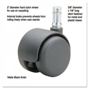 Master Caster Safety Casters, Standard Neck, Nylon, K Stem, 110 lbs./Caster, 5/Set MAS65434 65434