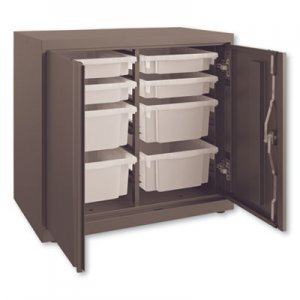 HON Flagship Storage Cabinet with 4 Small and 4 Medium Bins, 30 x 18 x 28, Charcoal HONSC182830LGS