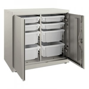 HON Flagship Storage Cabinet with 4 Small and 4 Medium Bins, 30 x 18 x 28, Loft HONSC182830LGLO
